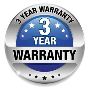 3 year warranty badge
