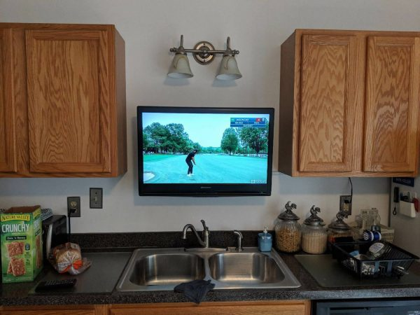 above sink kitchen tv mount